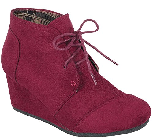 Forever Link Womens Lace Up Hidden Wedge Ankle Bootie Burgundy w89Y3g