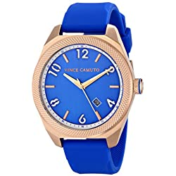 Vince Camuto Men's VC/1051BLRG The Commuter Rose Gold-Tone Blue Silicone Strap Watch