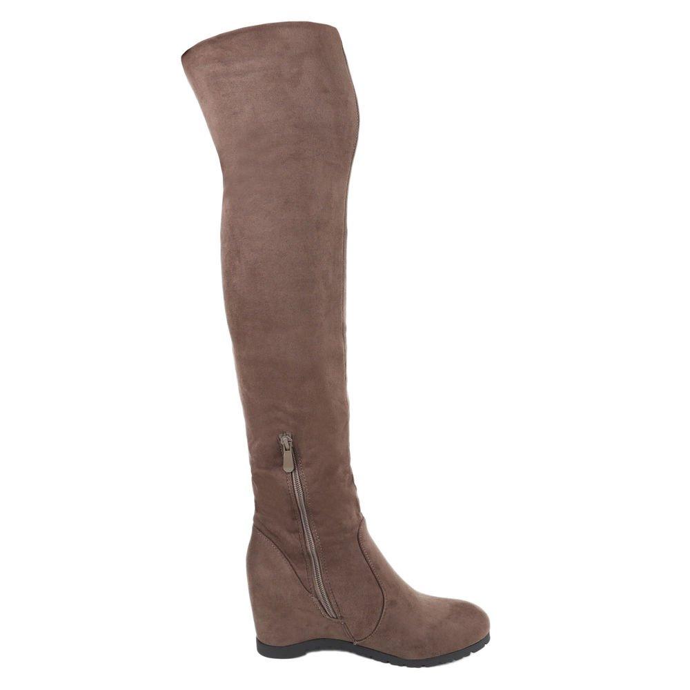 Ital-Design Damen Schuhe, ZH681, Stiefel, Leicht Gefütterte Overknee, Synthetik in Hochwertiger Wildlederoptik, Grau, Gr 36