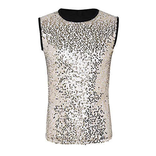 iiniim Men's Crew Neck Sequin Slim Fitted Clubwear Vest Shirt Sport Tank Top Undershirt Black&Gold L