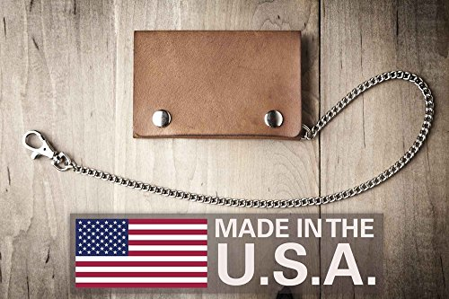 Biker Leather Goods - Leather Biker Wallet, Slim Chain Wallet (Made in USA by Mr. Lentz) 014