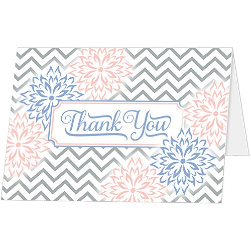 - Thank You Cards (Set of 25 with Envelopes) - Chevron and Floral Style - Premium Quality - Classic Design - Prefolded Foldover