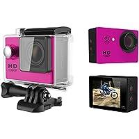 A9 HD 1080P MJPEG 2 inch LCD IP68 30m Waterproof Sports Action Camera DVR (Pink)