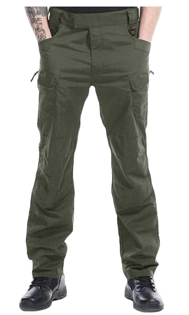 UUYUK Men Cargo Casual Slim Fit Tactical Shift Pure Color Cargo Pants
