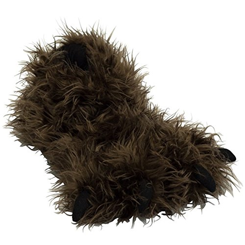 Lazy One Adult Brown Bigfoot Paw Slippers with Claws - Size L