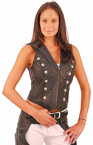 Naked Vest Leather Ladies - Jamin' Leather Zip Front Western Leather Vest for Women (3XL) #VL5076SK