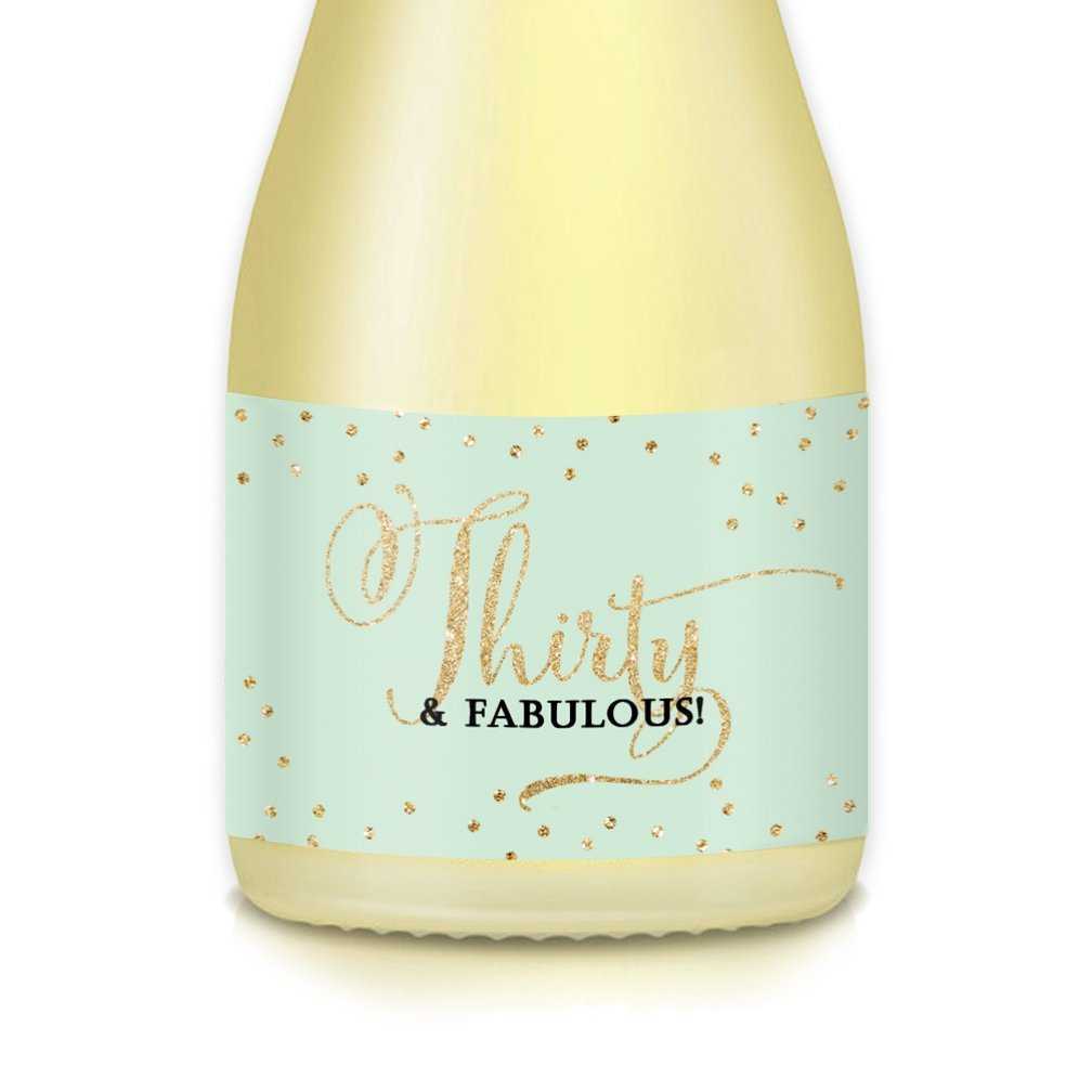 30th Birthday Gift Idea Mini Champagne Wine Bottle Labels 20 Count THIRTY FABULOUS Sparkling 35 X 175 Stickers Celebrate Wife Mom Sister