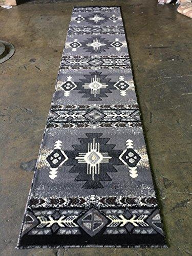 Southwest Native American Long Runner Area Rug Grey & Black Design C318 (2 Feet 4 Inch X 10 Feet 11 inch)