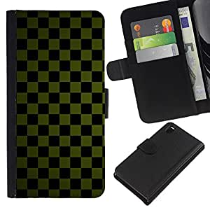 Ihec-Tech / Flip PU Cuero Cover Case para Sony Xperia Z3 D6603 / D6633 / D6643 / D6653 / D6616 - Texture Checkered Green