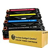 Techno Gadget Geeks 4 Pack CE320A CE321A CE322A CE323A Cyan Magenta Yellow Black Toner Cartridge Fits Color LaserJet Pro CM1415 CM1415fnw mfp CM1415fnw CP1525nw CM1415 CM1415mfp CM1525 CM1525, Office Central