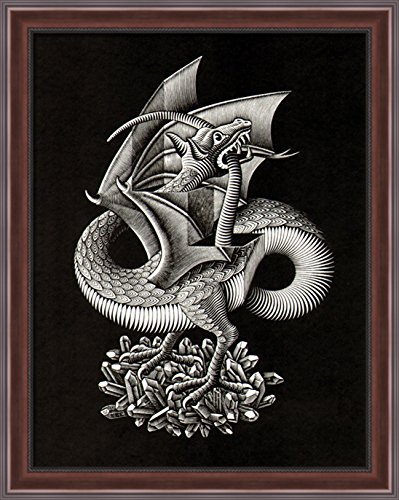 Dragon Large Poster (Dragon 28x36 Large Walnut Ornate Wood Framed Canvas Art by M.C. Escher)