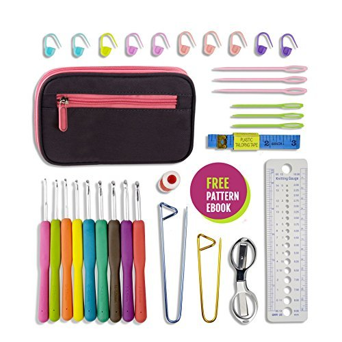 Crochet Up | 31 pcs Complete Ergonomic Crochet Hook Set (9 pcs Hooks, Scissors, Safety Pins, Stitch Markers, Row Counter, Gauge Measure, Yarn Needles, Measuring Tape, Travel Case, Pattern Ebook)