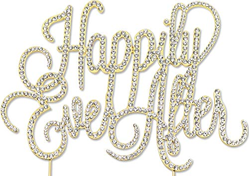 Happily Ever After Cake Topper (Happily Ever After Cake Topper, Wedding Anniversary Decorations, Crystal Rhinestone)
