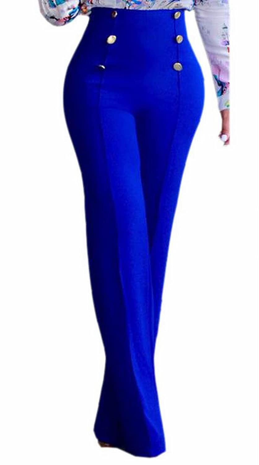 Jaycargogo Women's Casual Stretchy High waisted Wide Leg Button-down Pants