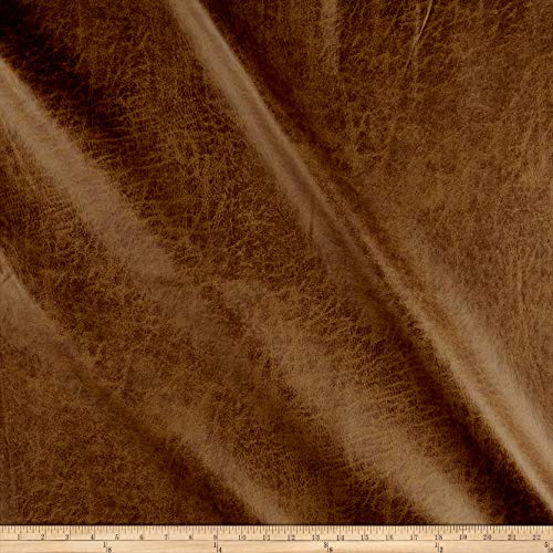 J. Allen Fabrics Fleece Backed Distressed Faux Leather Fabric, Camel, Fabric By The ()