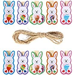 LUOEM Easter Bunny Wooden Pegs Photo Clips Craft Pegs Note Memo Card Holder Easter Party Favors,Pack of 10