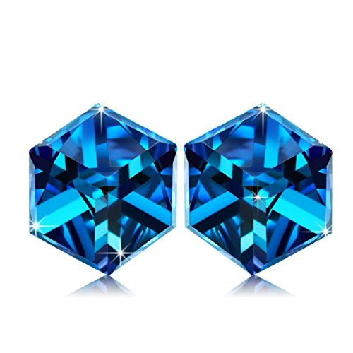 - NINASUN Women Earrings Swarovski Crystals Stud Earrings for Women s925 Sterling Silver Earrings for Sensitive Ears Fine Jewelry for Her Blue Wedding Gifts for Wife Girlfriend Birthday Gifts Girls