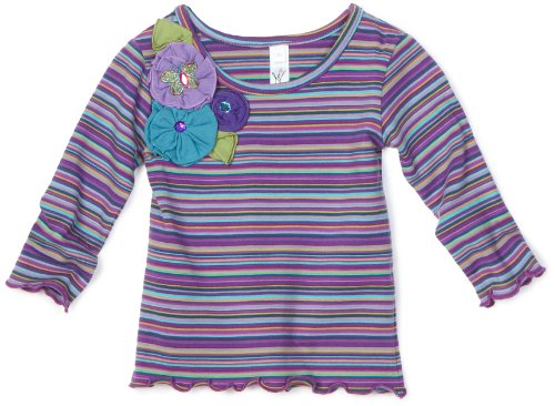 Love U Lots Baby Girls' Multistripe Baby Tee With Trim