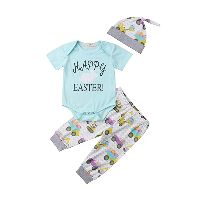 c159b0973e53 Amazon.com  Newborn Baby Easter Outfit Boy Girl Short Sleeve ...