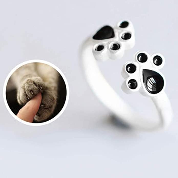 Roumin Beauty Hollow Paw Print Love Heart Ring Open Adjustable Ring Pet Animal Jewelry Lovely Rings