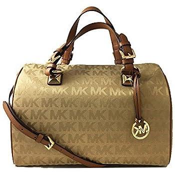 29ad81a68 MICHAEL Michael Kors Womens Grayson Jacquard Satchel Handbag Tan Large