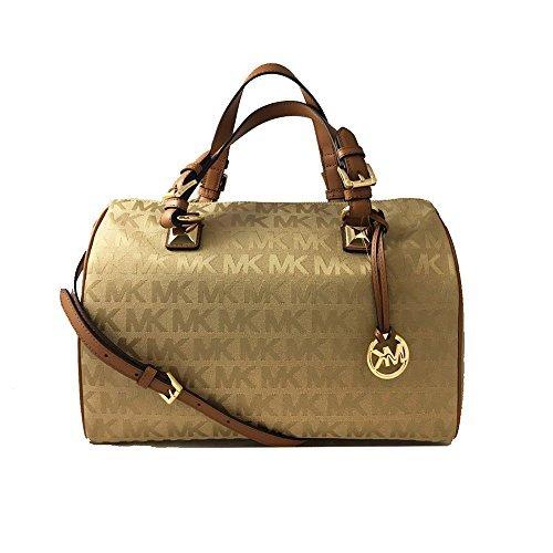MICHAEL Michael Kors Womens Grayson Jacquard Satchel Handbag Tan Large