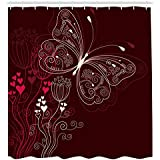 Ambesonne Romantic Shower Curtain, Abstract Floral Heart Pattern with Butterfly Motif Romantic Illustration, Cloth Fabric Bathroom Decor Set with Hooks, 75 Inches Long, Maroon Red Beige