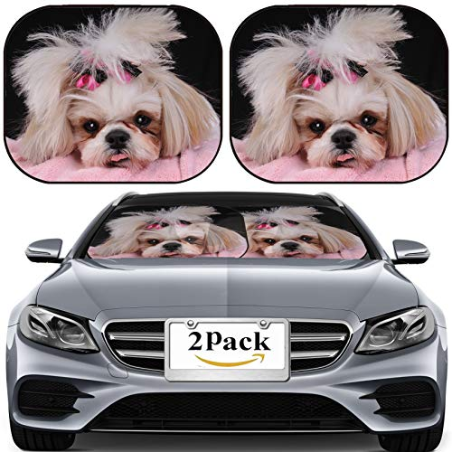 MSD Car Sun Shade for Windshield Universal Fit 2 Pack Sunshade, Block Sun Glare, UV and Heat, Protect Car Interior, Image ID: 4541168 Shih Tzu Puppy Eyes Close up Shot her Sticking Out her Tong ()