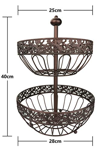RosyLine 2-Tier Fruit Basket home Fruit Basket Decorative Display Stand, Multi purpose bowl, Home accent furnishings by DongJiang (Image #3)