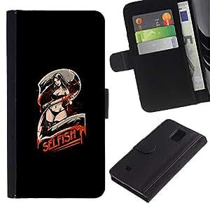 MobileX / Samsung Galaxy Note 4 SM-N910 / Selfish 2 - Sezxy Machete Girl / Cuero PU Delgado caso Billetera cubierta Shell Armor Funda Case Cover Wallet Credit Card