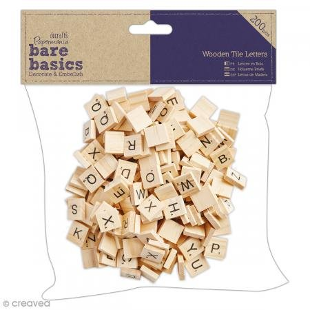 (Papermania Wooden Tile Letters, Light Wood, 200 Pieces)