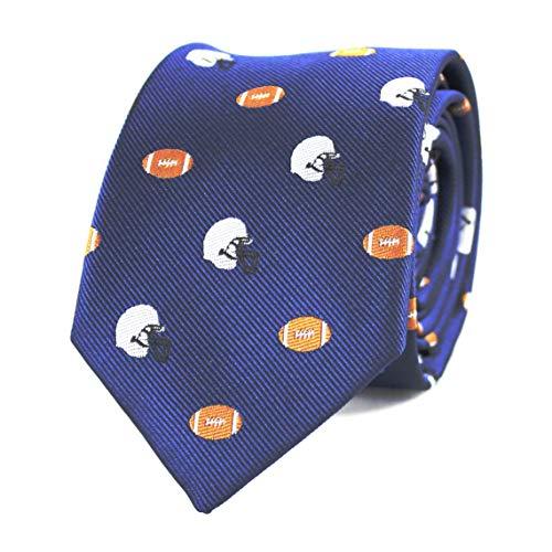 Football Mens Tie - MENDEPOT Football Necktie Silver Helmet And Brown Football Navy tie With Box