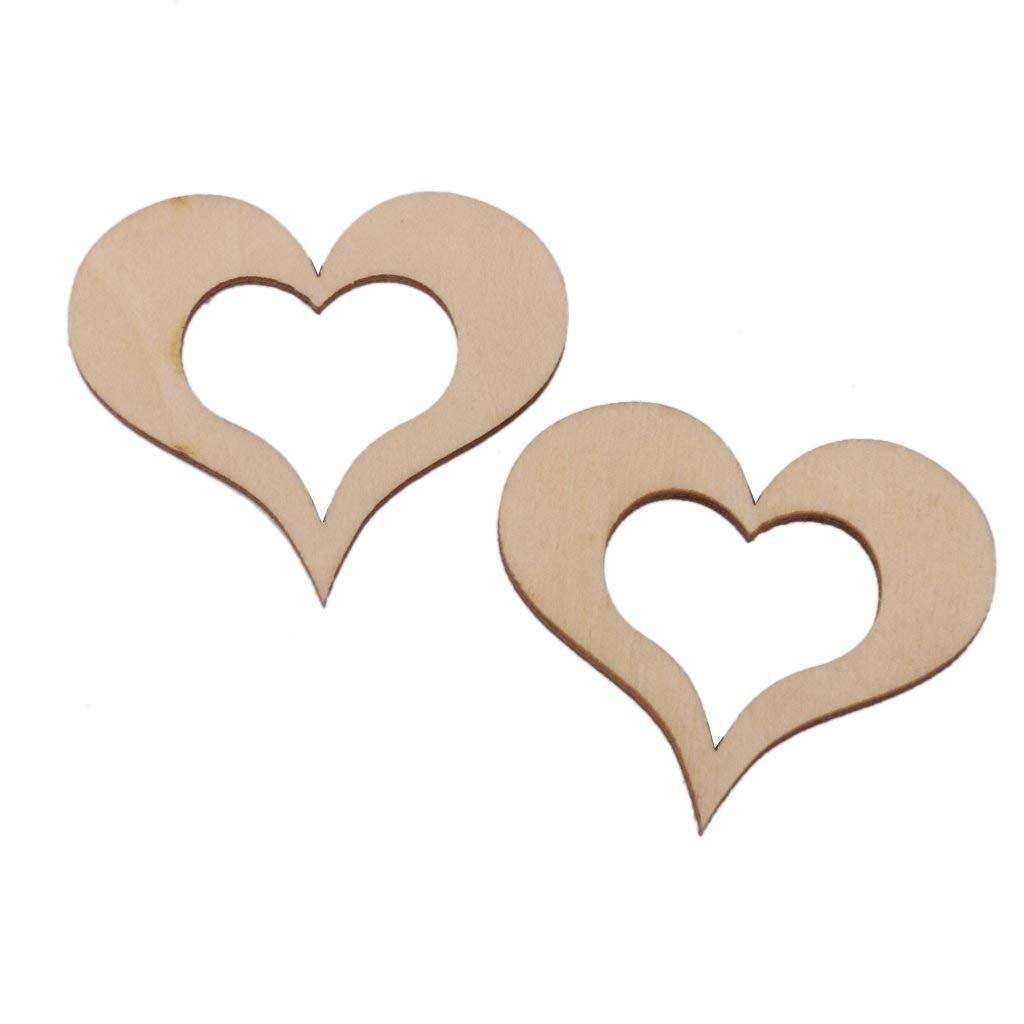 Approx.30pcs Wooden DIY Sweet Hollow Heart Crafts Embellishments Accessories 40mm High Quality