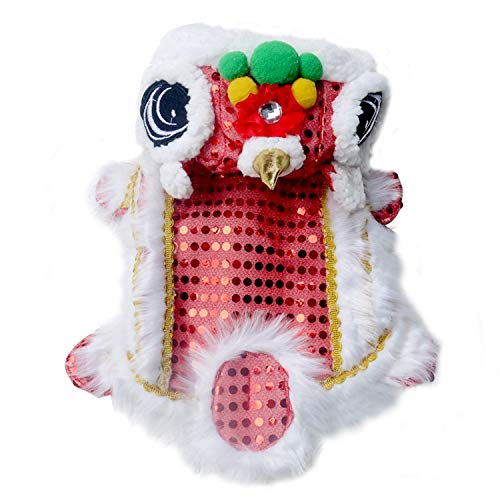 Migavan Dog Clothes,Lion Dance Pet Costume,Winter Warm Chinese Style Cute Lion Head Dance Pet Clothing Costume for Puppy Dog Cat Kitten Christmas New Year Spring Festival Supplies Size XL ()