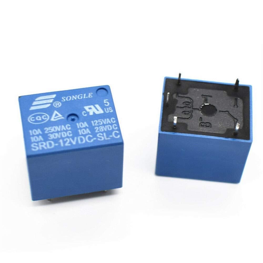 SENRISE Lot de 5 mini relais d'alimentation CC 5 V 15 A 250 VAC 5 broches pour appareils ménagers, communications réseau, équipements électroniques, etc, bleu