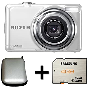 fujifilm finepix jv300 white case and 4gb memory card amazon co rh amazon co uk