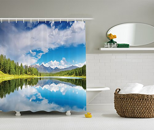 Ambesonne Lakehouse Decor Collection, Lake and Reflection Scene at the Skirts of Altai Mountain Covered with Spring Forest Picture, Polyester Fabric Bathroom Shower Curtain, Blue Green White