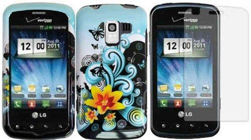 Yellow Lily Hard Case Cover+LCD Screen Protector for LG Enlighten VS700 Optimus Slider LS700 Optimus Q (Lg Optimus Slider Cover)