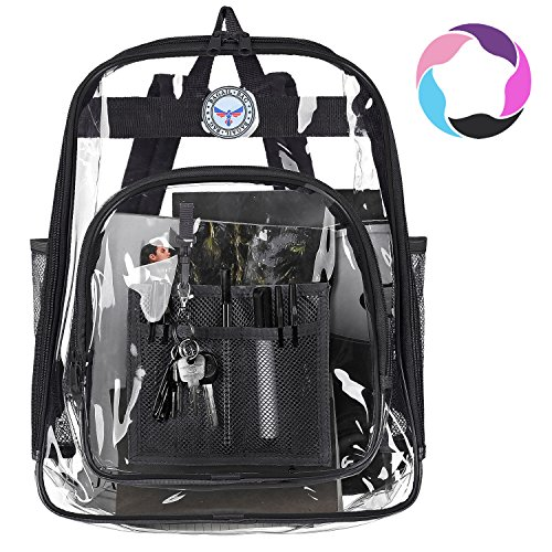 (Bagail Clear Backpack Heavy Duty See Through Transparent Daypack Student School Bookbag(Black))