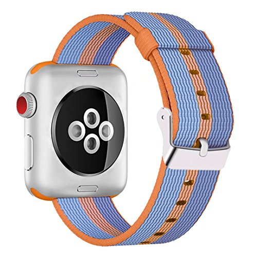 INTENY Woven Nylon Fabric Wrist Strap Replacement Band with Classic Square Stainless Steel Buckle Compatible for Apple iWatch Series 1/2,Sport & Edition,38mm,Orange
