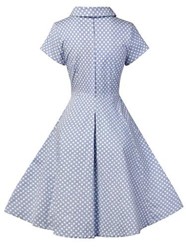FAIRY COUPLE 50S Vestido Retro de los Lunares de las Mangas del Cortocircuito del V-cuello de la Vendimia DRT033 Puntos Azules