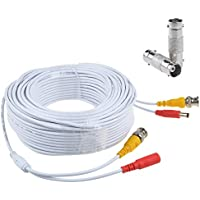 Flashmen 150ft HD Video Power Security Camera Cables Pre-made All-in-One Extension Wire Cord with BNC Connectors for CCTV Security Camera White