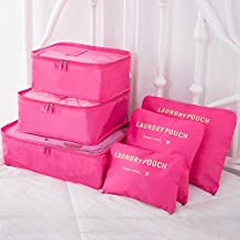 9Pcs Magik Waterproof Clothes Storage Bags Packing Cube Travel Luggage Organizer Pouch (Hot Pink)