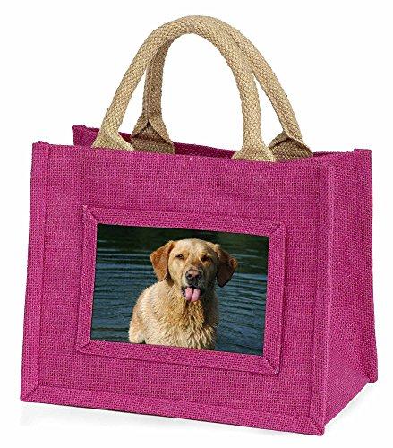 Advanta–Mini Pink Jute Bag Golden Retriever in Wasser Little Mädchen Kleine Einkaufstasche Weihnachten Geschenk, Jute, pink, 25,5x 21x 2cm