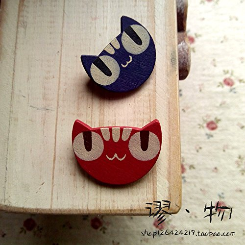 - Exclusive original hand-painted wooden large solitary cat brooch pin red eye blue cute Meng things