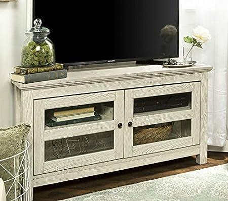 Mueble esquinero de TV para televisores de hasta 121,9 cm, Puertas de Cristal Templado, Color Blanco: Amazon.es: Juguetes y juegos