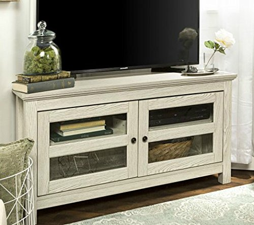 TV Stands Table Cabinet-White Wash Wood for up to 50 Inch Display Your TV in - 32 Tvs Sale Inch On Flat Screen