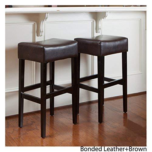 Superb Christopher Knight Home Lopez Brown Leather Backless Bar Stools Set Of 2 Inzonedesignstudio Interior Chair Design Inzonedesignstudiocom
