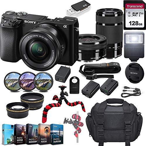 Sony Alpha a6100 Mirrorless Camera w/ 16-50mm & 55-210mm Lenses & 128GB SD Card Bundle