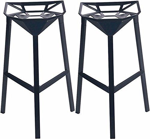 Mod Made Mid Century Modern Geometric Aluminum Barstool, Black, Set of ()